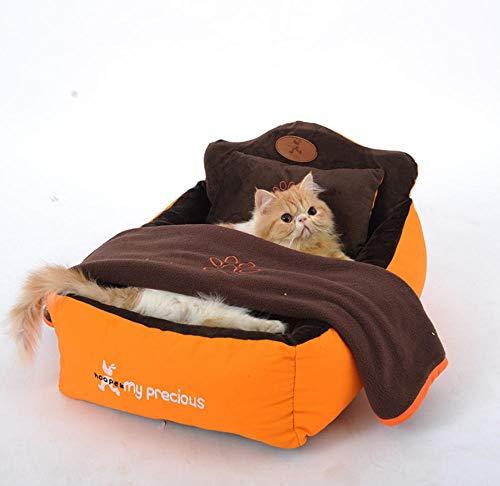 Kennel verwijderbare en wasbare 3-delige set (huisdierbed + kussen + deken) Hondenbed Zachte luxe huisdier prinses slaapbank Kennel Hondenspeelgoed Huis 115 * 85 * 22