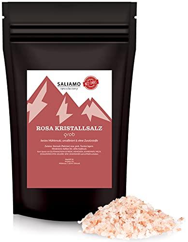 Saliamo Kristallsalz - Steinsalz grob - auch als rosa Himalaya Salz bekannt - aus Salt Range Pakistan - 2-4 mm große Salzkörner - 500 g Packung