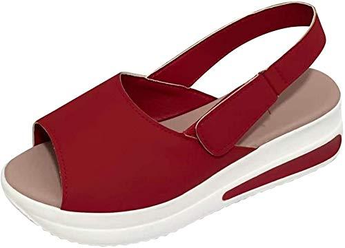 QAZW Sandalias de Plataforma para Mujer Casual Punta Abierta Sandalias de Cuña Negras Zapatos Deportivos de Ocio con Tiras de Tobillo,Red-38