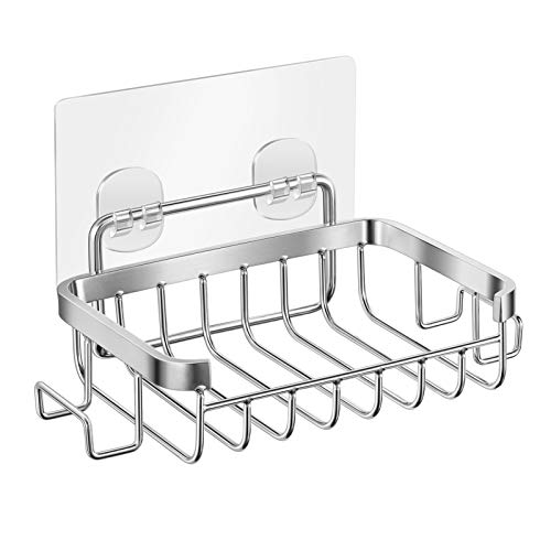 TOPBATHY Seifenschale mit Haken 304 Edelstahl Seifenhalter Seifensäckchen Wandhalterung Klebstoff ohne Bohren Schwammhalter für Badezimmer Dusche Küche