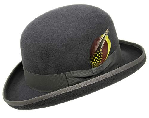 Borges & Scott Premium Orwell - Sombrero de Hongo o Bombín - 100% Fieltro de Lana - Gris 58cm