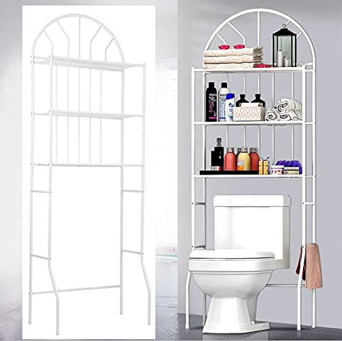 Estante para inodoro de 3 niveles, estante de almacenamiento de lavandería, compartimento ajustable con espacio de almacenamiento multifuncional para ahorrar espacio, 176,5 x 62 x 33,5 cm