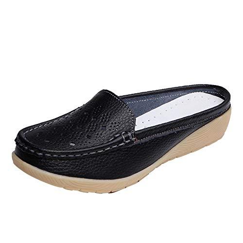 AIni Damen Schuhe Beiläufiges Mode Elegant Sommer Beiläufig Wedges Soft Bottom Outdoor Slip On Half Slipper Erbsen Bootsschuhe Strand Partyschuhe Freizeitschuhe(39,Schwarz)