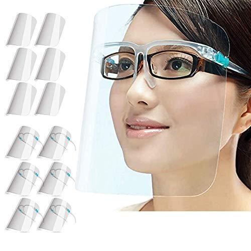 PETHREE Pantalla Protección Facial Transparente para Adultos y Niños, Visera Protectora Face_Shield_Visor(con 12 Viseras reemplazables y 6 monturas de Gafas Reutilizables)