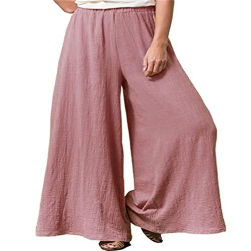 Pantalones Anchos De Pierna Ancha De Color SóLido Sueltos De AlgodóN Y Lino Pantalones Casuales De Talla Grande Mujer