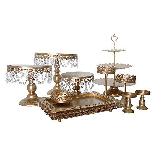 Futchoy Juego de 12 soportes para tartas dorados para bodas, fiestas, tartas, cumpleaños, cesta para cupcakes con colgante y perlas