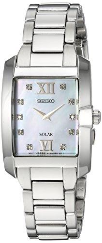 Seiko Women's Diamond Solar Japanese-Quartz Watch with Stainless-Steel Strap, Silver, 8 (Model: SUP377)