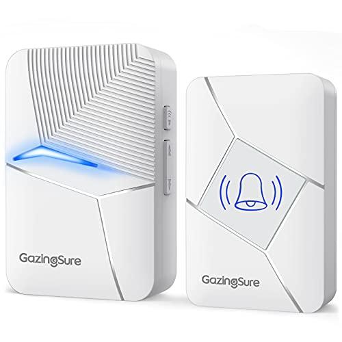 GazingSure Funkklingel - Funk Türklingel Set Aussen Wasserdicht mit 457m Reichweite, IP55 wetterfest, 55 Klingeltöne, 5-stufige Lautstärke und LED-Anzeige, inklusive Batterie (Weiß)