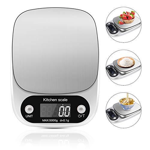 Sadubty - Báscula digital de cocina con superficie de acero inoxidable, pantalla LCD para hornear y cocinar