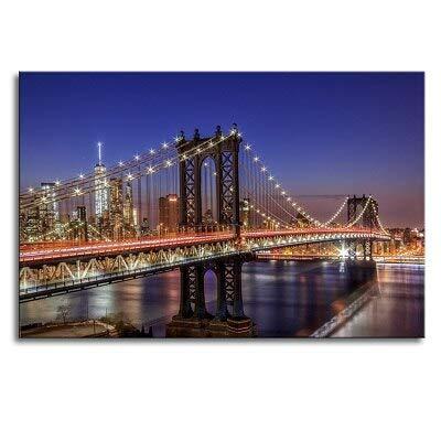 Moderno puente de Manhattan de Nueva York Vista nocturna Paisaje Carteles Pinturas sobre lienzo Arte de la pared Imágenes Sala de estar Arte de la pared Impresión 50x70CM SIN marco
