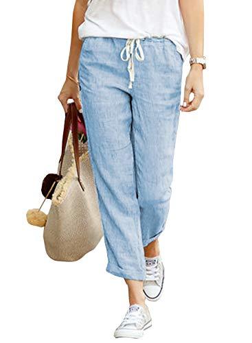 Yidarton Damen Hose Sommer Stoffhose Einfarbig Freizeithose Elastischer Bund Leinenhose Mit Taschen (Blau, L)