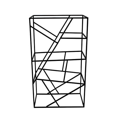LaLe Living Botellero Vino en negro de hierro cepillado para 9 botellas de vino con la medida 26 x 45,5 cm – para almacenamiento, almacenamiento de vino y botellas de agua – en diseño geométrico