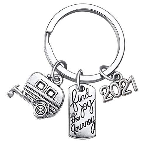 VALICLUD 2pcs Reise Schlüsselanhänger 2021 Find joy in The Journey Gedenk Happy Camper RV Trailer Schlüsselbund Glücklich Camper Geschenke für Männer Frauen