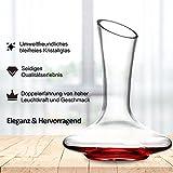 ADMY Wein Dekanter, 1.8L Weinkaraffe Set aus Kristallglas, Rotwein Bleifreies Glasdekanter, Dekantiergefäß Glasbelüftungsweinkaraffe Decanter, Dekantierflasche Geschenk für Weihnachten Weinliebhaber - 8