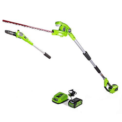 Greenworks 8 Inch 40V Cordless Pole Saw with Hedge Trimmer Attachment 2.0Ah Battery and Charger Included PSPH40B210