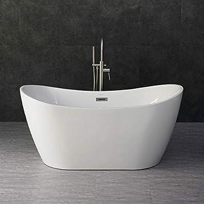 "WOODBRIDGE 59"" Acrylic Freestanding Bathtub Contemporary Soaking Tub with Brushed Nickel Overflow and Drain, B-0016 / BTA1516"