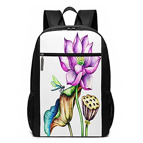 Mochila escolar botánica de flores rosas, bolsa de libros de negocios, viajes, mochila casual para hombres, mujeres, adolescentes y niñas