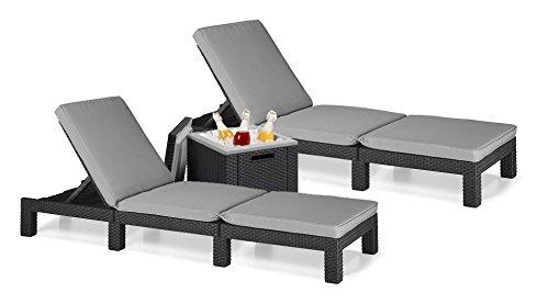 Sun lounger, garden lounger, set of 2, Allibert Daytona polyrattan, cool box, ice cube - graphite including cushion