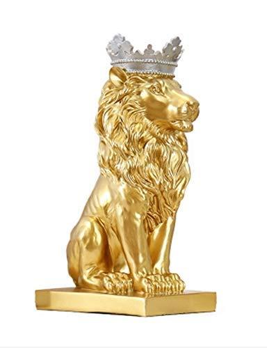 GFF Decoraciones nórdicas Sala de Estar Vinoteca Decoración de Oficina Creativa Animal León Artesanía, Opcional Multicolor (Color: Oro)