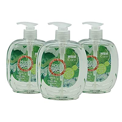 WBM Care 8651-3PK, Lemon Green Hand Soap, 500 ml, 17.5 fl oz, Lemon & Green Tea (3-Pack), 52 Ounce