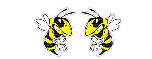 Böse Biene angry Bee Aufkleber Sticker Autocollants Pegatinas / Plus Schlüsselanhänger aus Kokosnuss-Schale/ digital Druck Ski-Doo Hornets Auto Car Bike Motorrad Bike JDM Dub Tuning Laptop