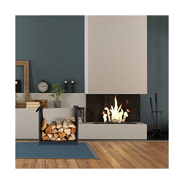 Relaxdays Leñero Interior con Bolsa, Diseño Moderno, Metálico, Chimenea, Almacenaje Leña, Acero, 50 x 51 x 37 cm, Negro