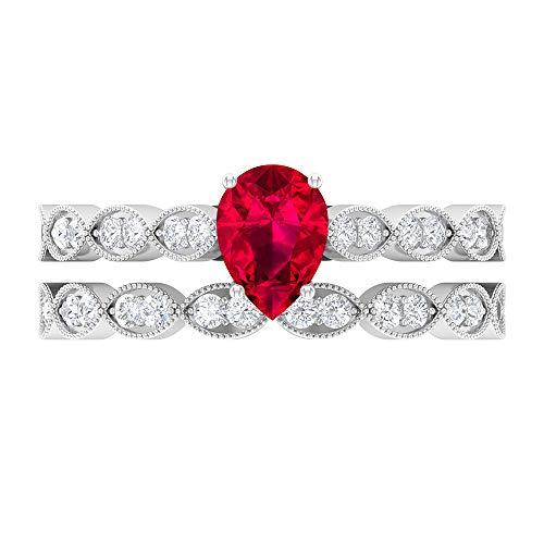 Anillo solitario de corte pera, 5 x 7 mm, D-VSSI Moissanita eternidad, anillo de novia, oro blanco de 14 quilates rojo