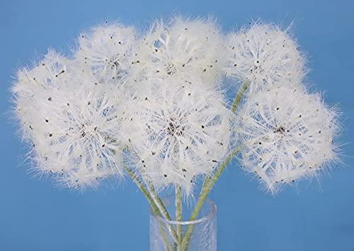 Artificial Dandelion Flowers Lovely Faux Dandelion Flowers for Home Decoration (8 Pcs) (White)