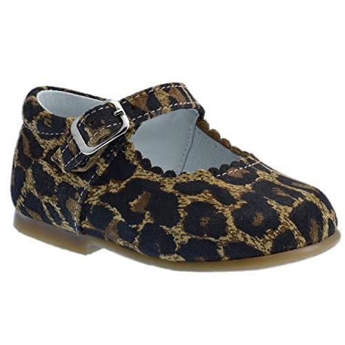 Guxs Zapato Merceditas Niña Piel Serraje Leopardo