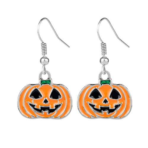 1 par de aretes de gancho de calabaza de Halloween Grimace aleación colgante pendiente festivo traje de oreja joyería para mujeres niñas para regalos