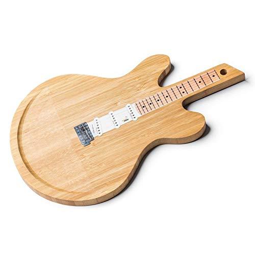 Tabla de cortar de madera de bambú para pan y embutidos en forma de guitarra eléctrica diaboleto. Esta tabla de cortar es completamente de bambú 100% natural.