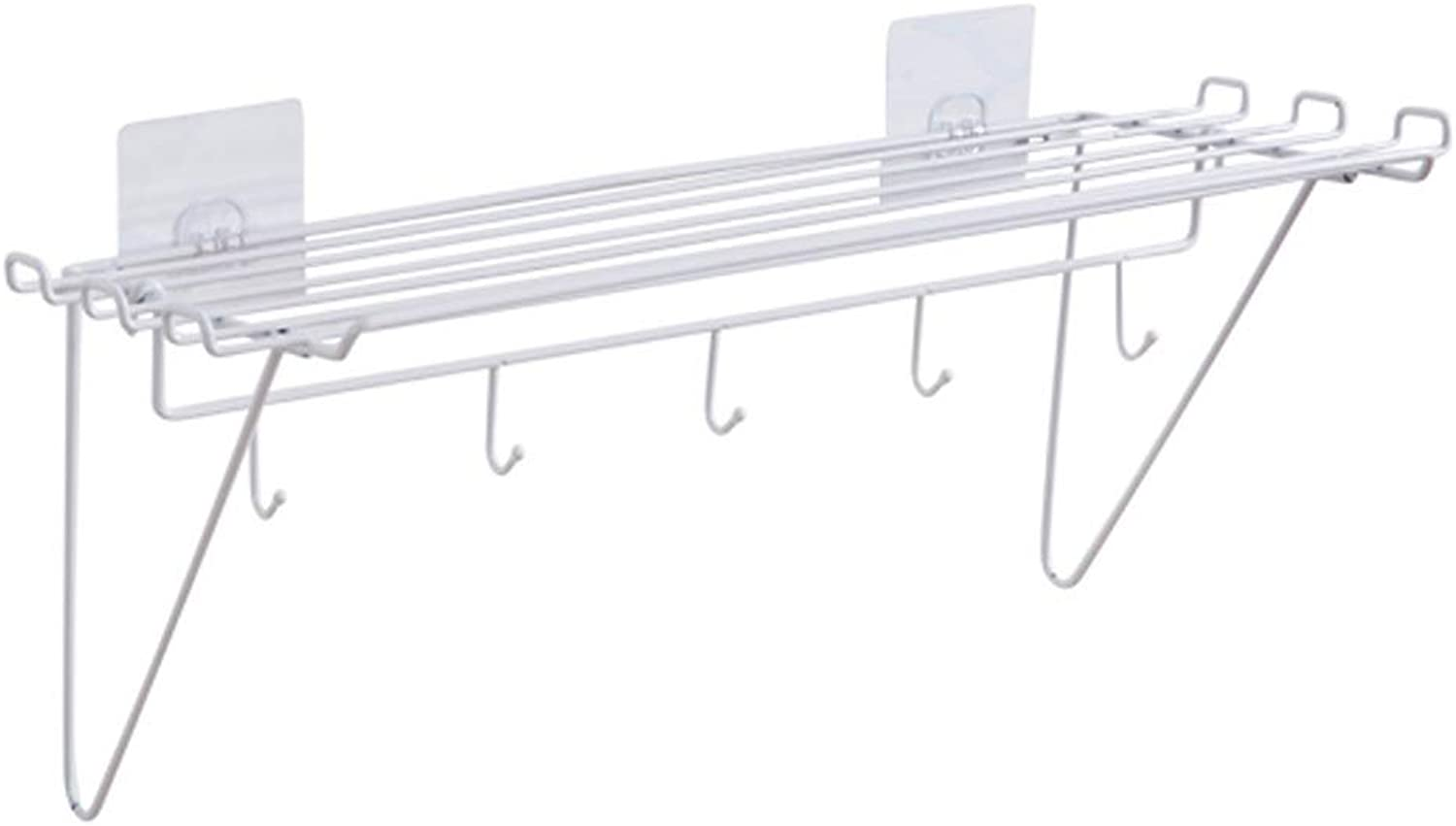Rishx Punch-Free Bathroom Shelf Kitchen Metal Storage Rack with 5 Hooks Wall Hanging Shelves Basket Large Capacity Bathroom Accessories Organizer (color   White)