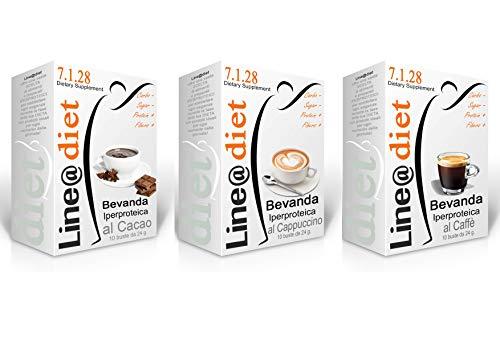BEVANDE PROTEICHE Line@diet - preparati proteici 30 bustine (30 bevande: 10 CACAO+10 CAPPUCCINO+10 CAFFE')