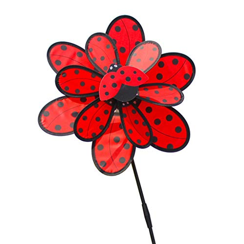 Baiyao Marienkäfer Wind Spinner - Doppelschicht Käfer Windmühle Wind Spinner Windrad Für Hausgarten Hof Dekor, Spielzeug Für Kinder