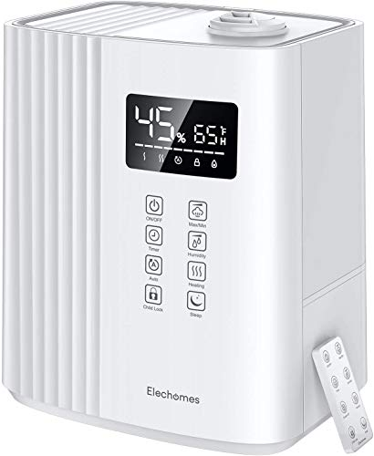 Elechomes 6.5L Top Fill Humidifier, Warm and Cool Mist for Bedroom Large Room with Remote Control, Humidity Monitor, Auto & Sleep Mode, 360° Nozzle, 1-12H Timer, Auto Shut-Off SH8830 (White)