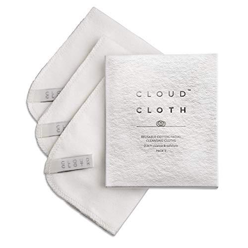 CloudCloth Paños de limpieza faciales de doble cara de algodón puro (3 unidades)
