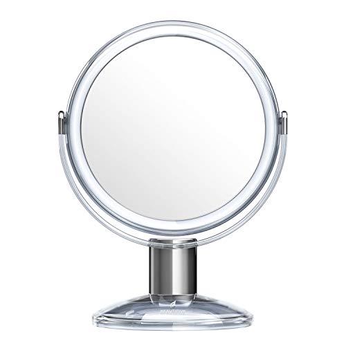 specchio trucco x7 Beautifive Specchio per Trucco Bifacciale con Ingranditore 7X da Bagno o Tavolo Specchio Cosmetico da Makeup e Barba da Viaggio Rotazione a 360 Gradi Specchietto Make Up con Supporto Stile retrò