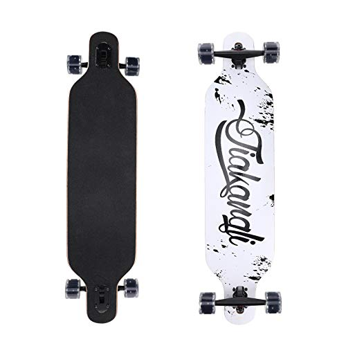 Longboard Komplettboard mit High-Speed ABEC-11 Kugellagern inklusive Flash Wheel Drop Through Freeride Skate Cruiser Boards (Schwarz)