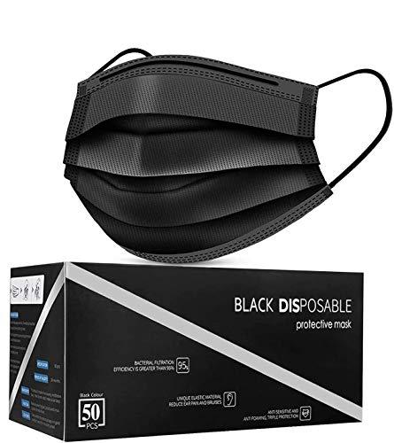 Disposable Face Masks, Pack of 50 Black Face Masks