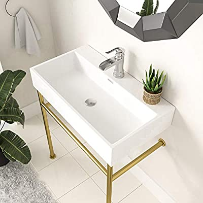 Console Sink with Gold Legs, Logmey 30 Inch Ceramic Basin Logmey Glossy White Rectangle Porcelain Freestanding Bathroom Sink With Tower Bar And Chrome Finishi Overflow,Pedestal Bathroom Sink