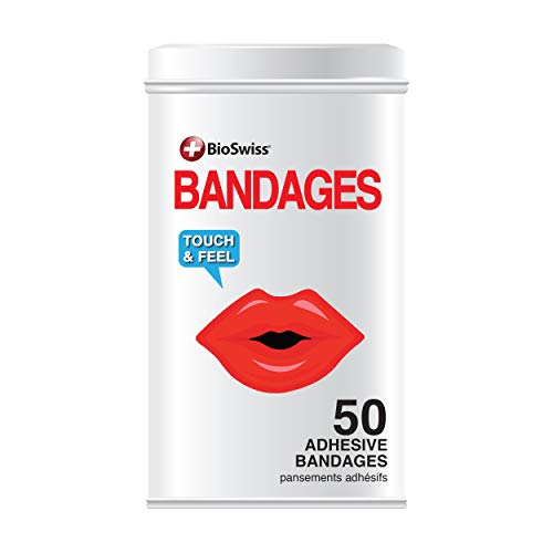 BioSwiss Novelty Bandages Collectable Tin, Self-Adhesive Funny First Aid Bandages, Novelty Gag Gift (Lips)