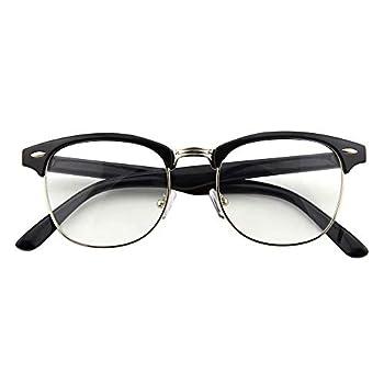 Happy Store CN56 Vintage Inspired Classic Horn Rimmed Half Frame Nerd UV400 Clear Lens Glasses,Glossy Black