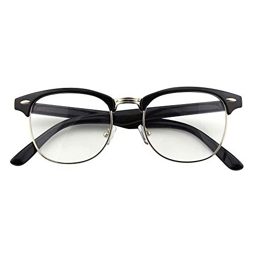 CGID 50er Jahre Retro Nerd Brille Halbrahmen Hornbrille Stil Rockabilly Streberbrille,Glossy Schwarz