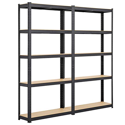 Yaheetech 5-Tier Storage Shelves, Heavy Duty Shelving Unit Metal Storage Rack for Kitchen Laundry Garage Warehouse, Pack of 2