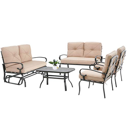 Oakmont 5Pcs(6 Seats) Outdoor Metal Furniture Sets Patio Conversation Set Glider, 2 Single Chairs, Loveseat and Coffee Table, Wrought Iron Look,Brown