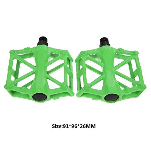 Yuelso Pedal MTB MTB Pedales Plano de la Bicicleta de la aleación de Aluminio del Pedal de Nylon Multi-Colores de Ciclo del MTB Ultraligero Accesorios (Color : Green)
