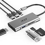 Acer 7-in-1 Mini Dock (USB Type-C zu 3x USB 3.0, 1x HDMI, 1x SD + 1x TF Card Reader, 1x USB Type-C PD) silber