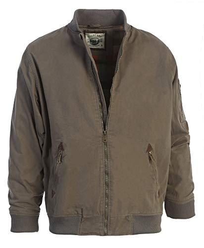 Gioberti Men's Sportwear Full Zipper Twill Bomber Jacket, Olive, XXL