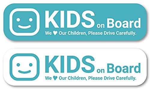 Isaac Trading 子どもが乗っています Kids on Board ステッカー 2色セット シール Kids in Car キッズ イン カー 127×33mm 車用 (ブルー)