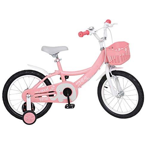 Bicicleta para niños para niñas, 14 Bicicletas para niños de 16 Pulgadas con Ruedas y cestas auxiliares, Bicicleta para niños pequeños con Marco de Acero con Campana para 4-9 años, Rosa,16inch